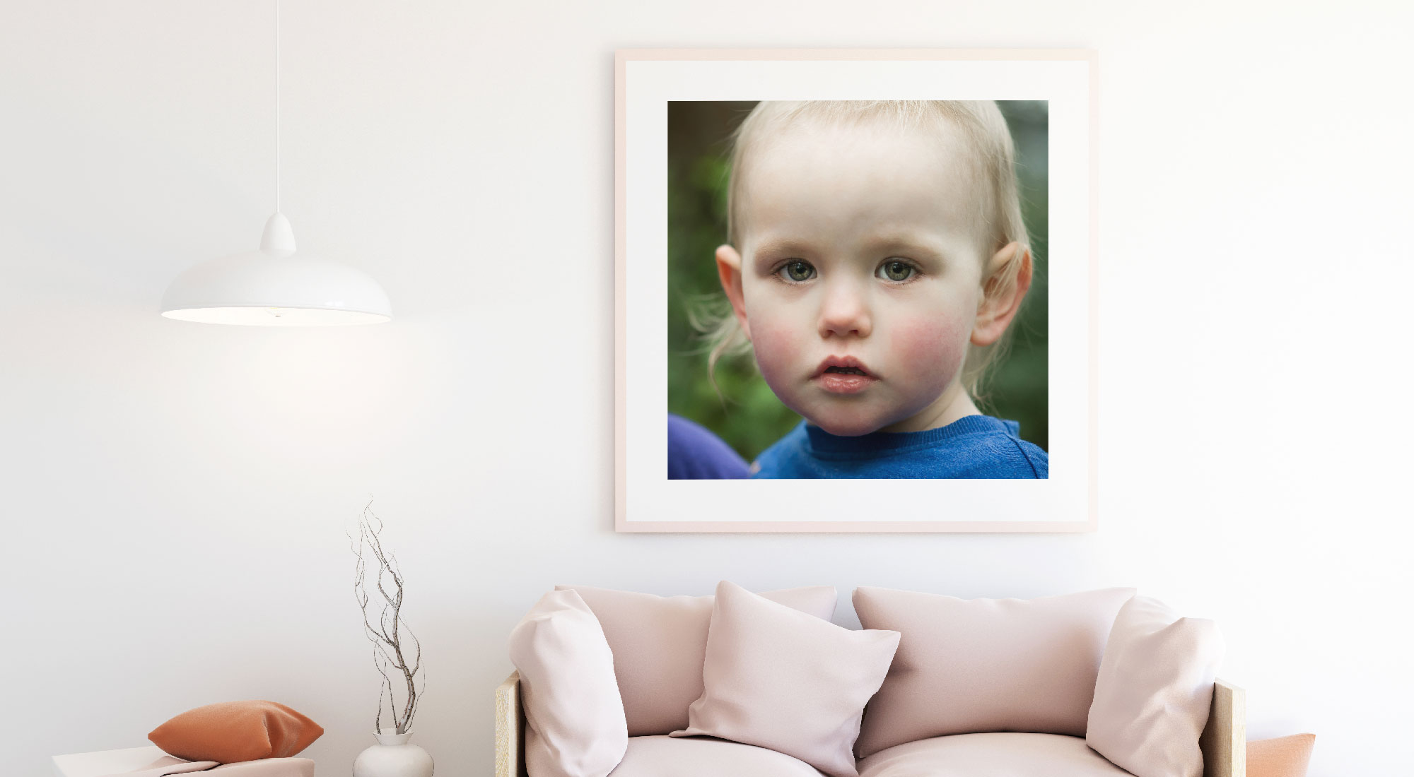 Young boy portrait over sofa