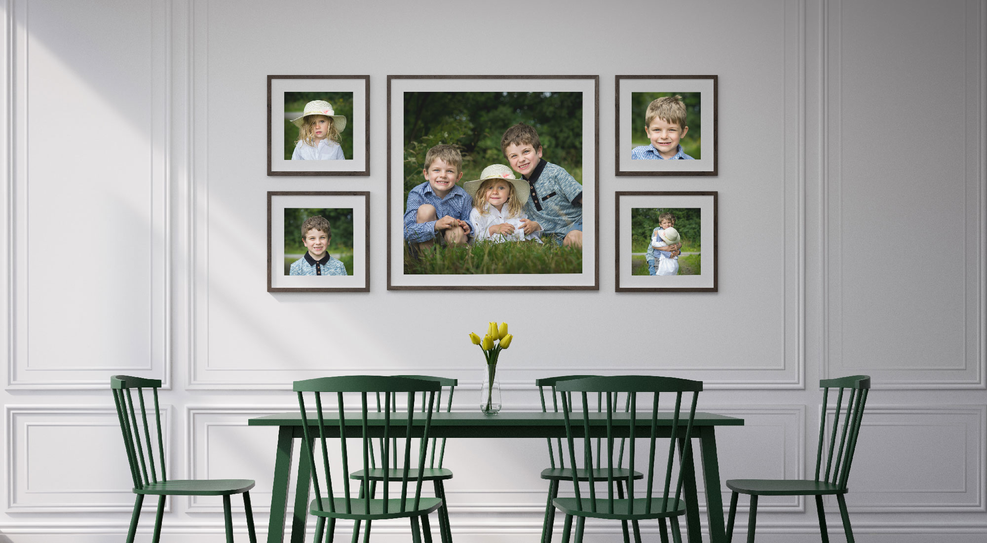 Framed prints over dining table
