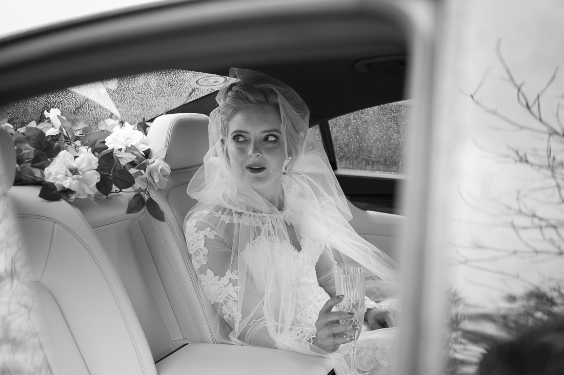 Nervous bride in the car