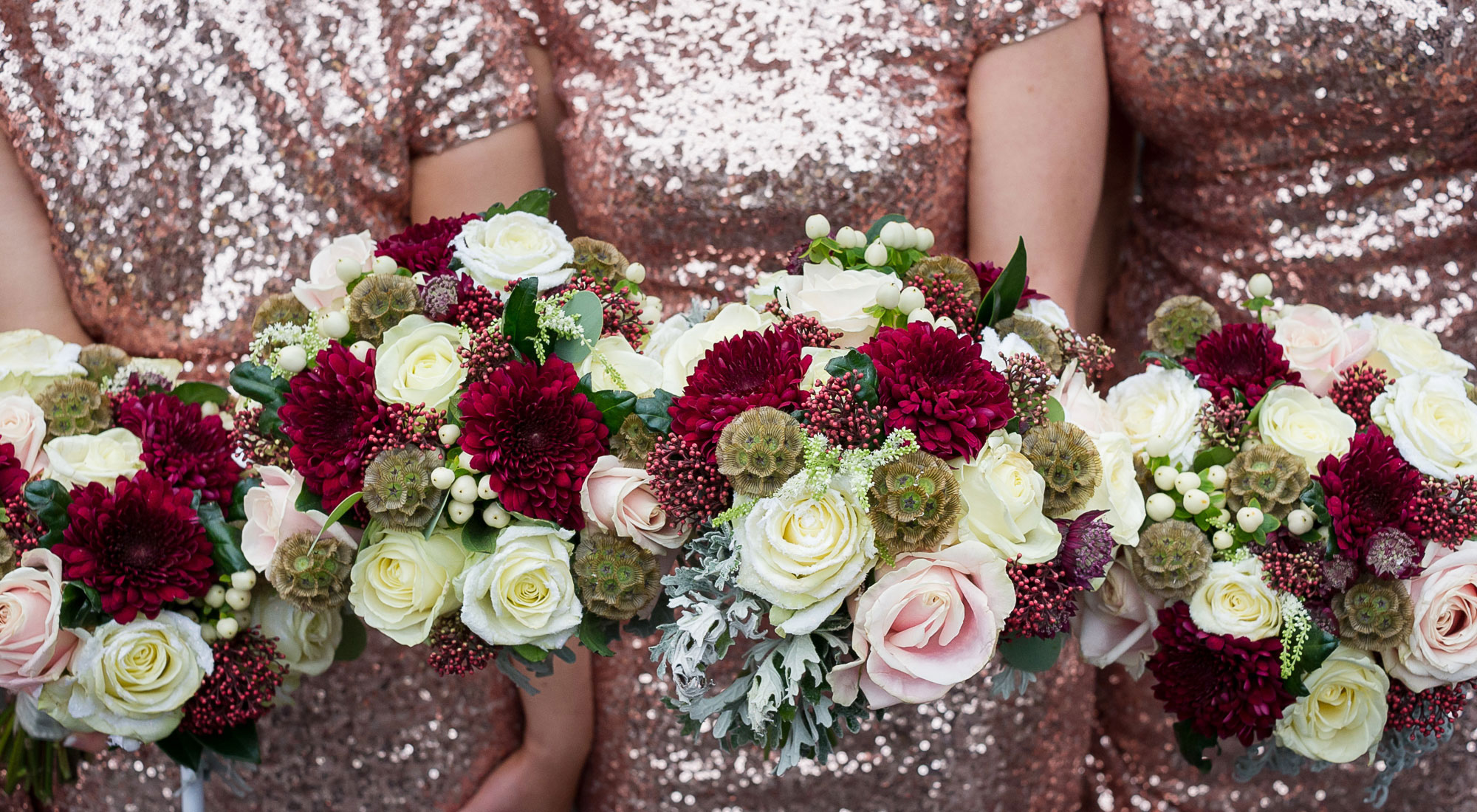 Bridemaids holding wedding bouquets